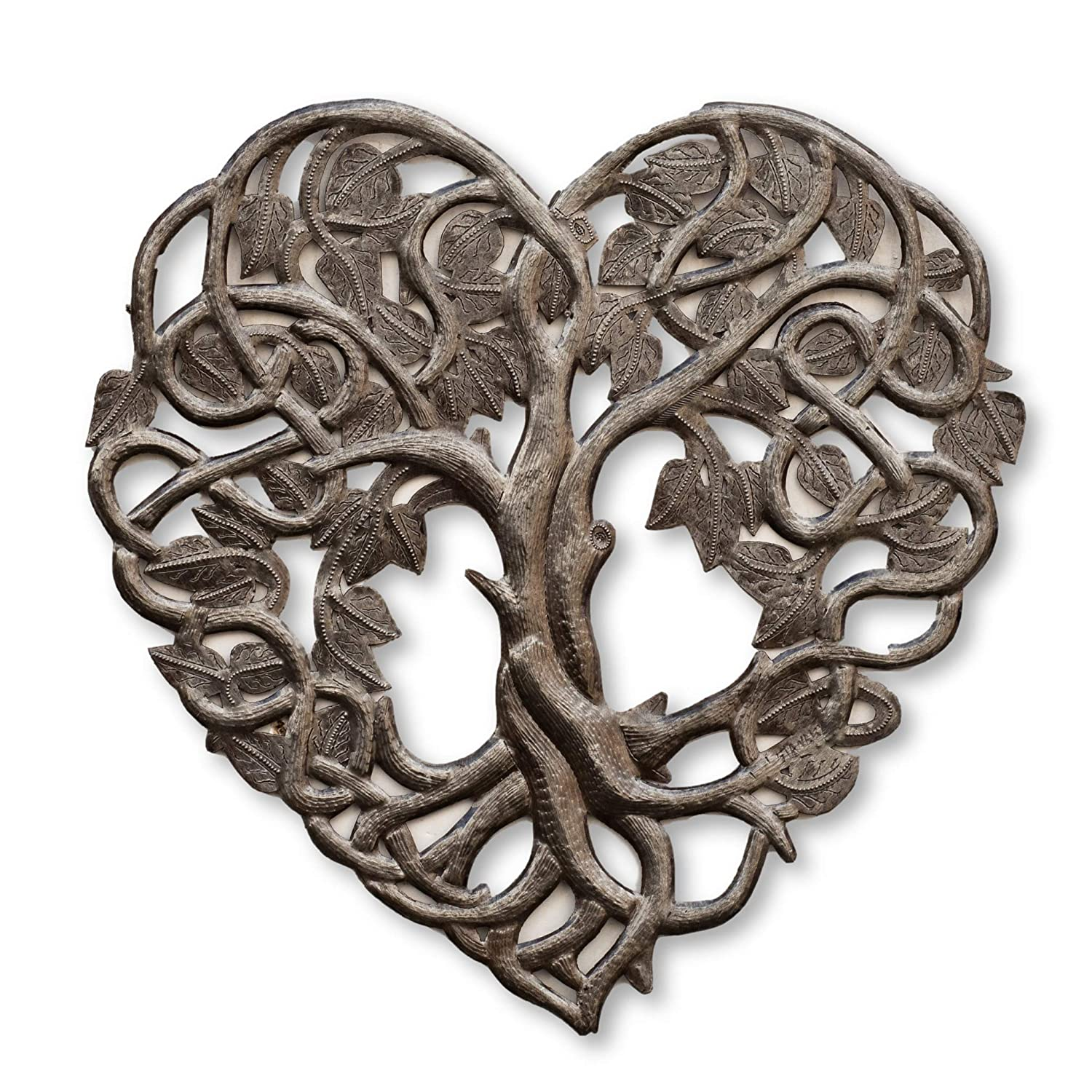 Heart Wall Decor, Tree of Life, Decoration of Love and Friendship Wall Hanging Plaque, Peace, Handmade in Haiti, 16 in. x 16 in. (Heart Shaped Tree)