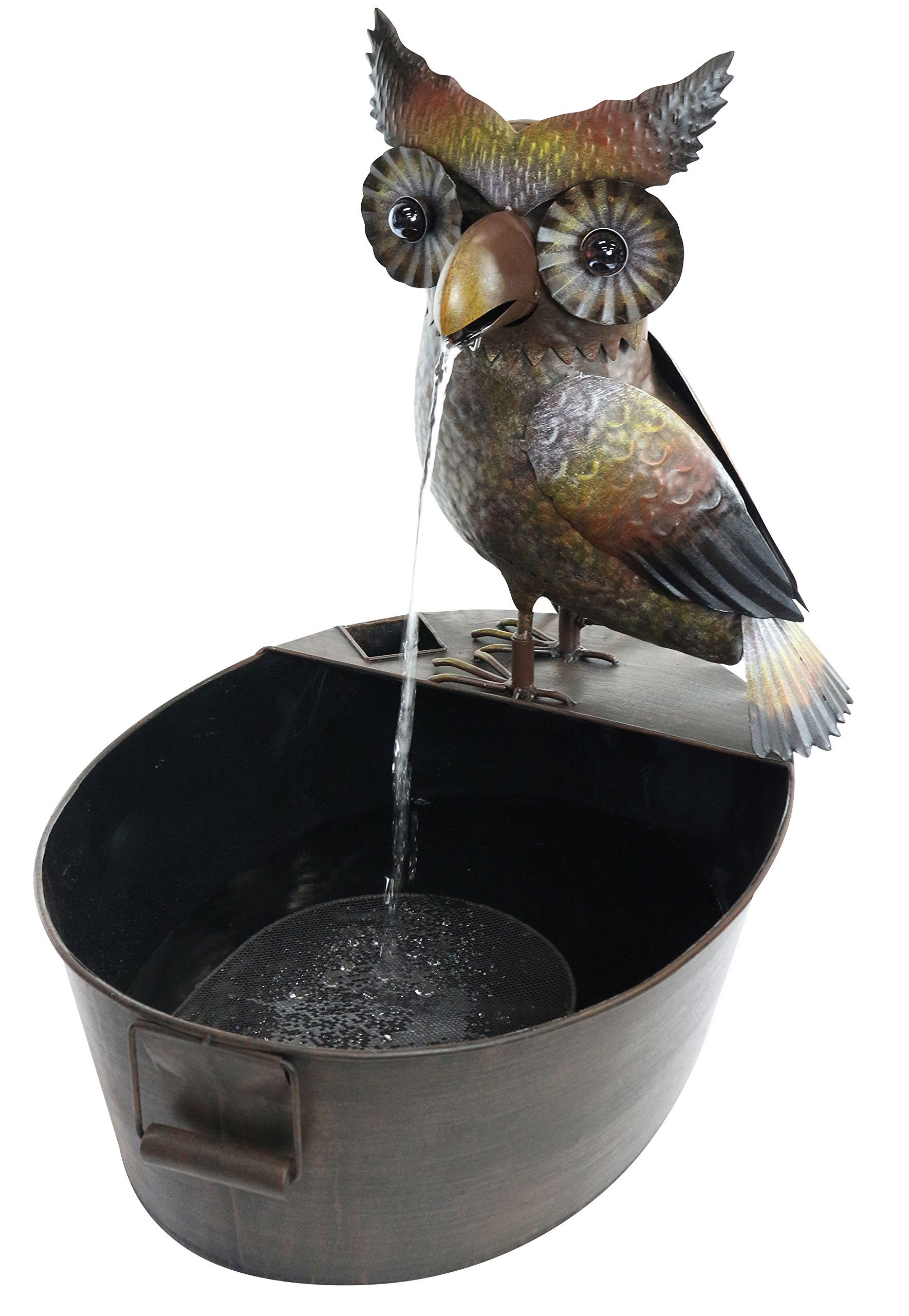 "Alpine Metal Owl on a Tin Fountain, 23 Inch Tall - 20""L x 15""W x 23""H, made of metal with a 250 L/H flow rate and a 5L water capacity Playful, whimsical owl on a tin fountain with a single stream that adds a rustic charm to your décor Made of durable materials that will perfect your home, yard, and garden décor - patio, outdoor-decor, fountains - 81jtndcNKLL -"