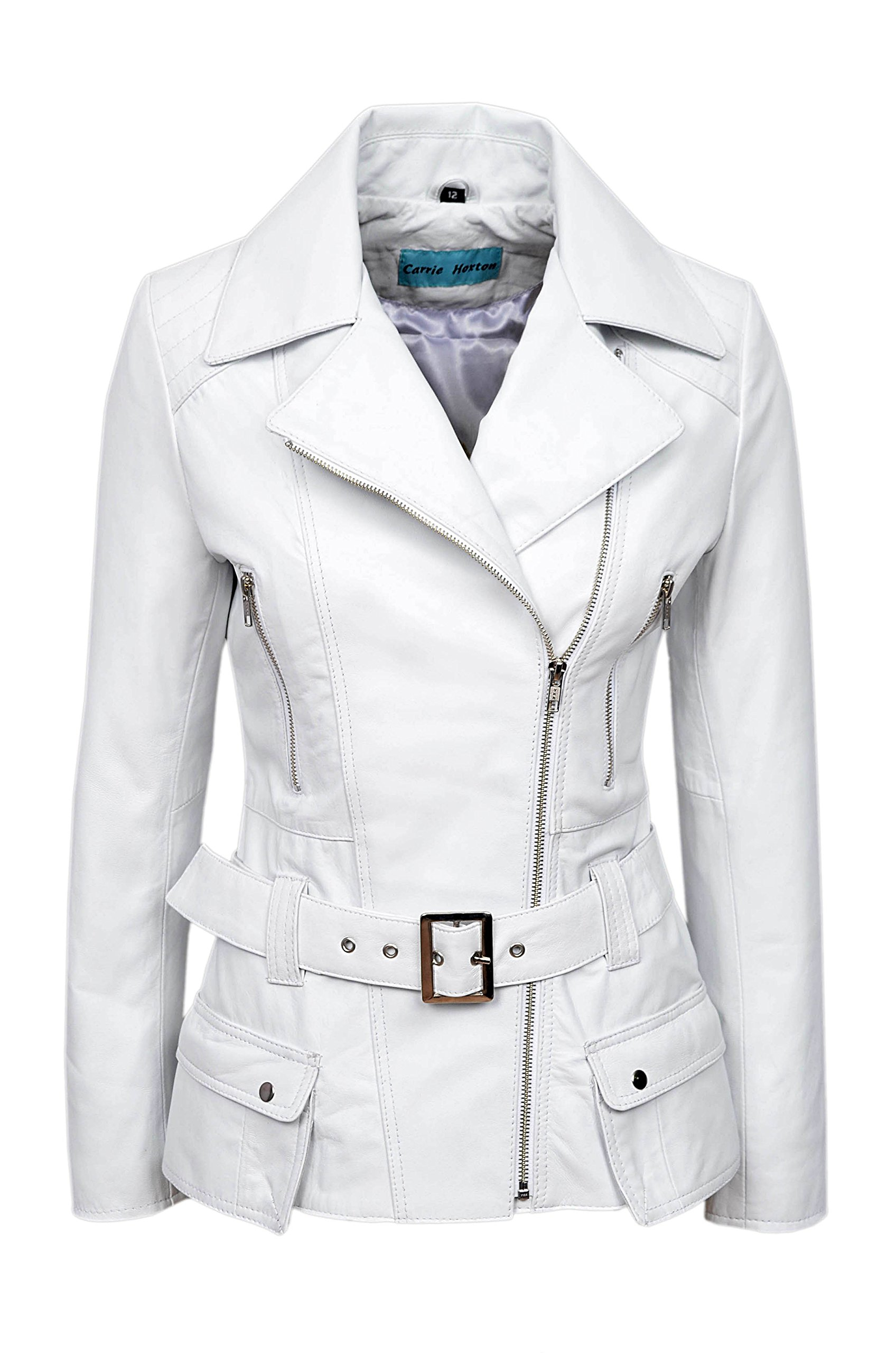 'FEMININE' Ladies WHITE Vintage WASHED Biker Style Designer Real Leather Jacket (UK 14/US 10)