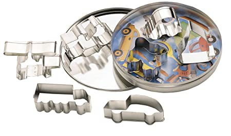 Kitchen Craft Letu0027s Make Metal Cookie Cutters With Storage Tin   Assorted  Vehicle Designs (7