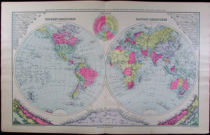 Amazoncom World Double Hemispheres Mountains Rivers Charts Time - Old time world map