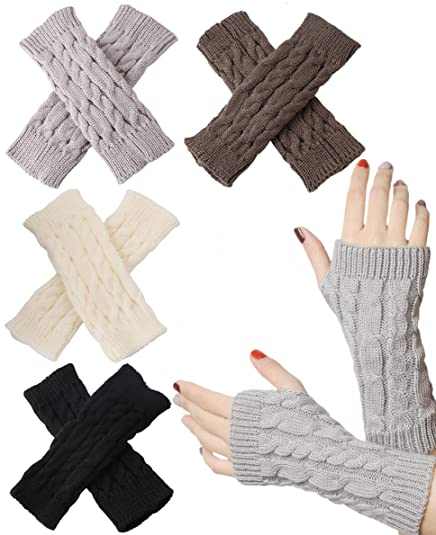 1f1955377 Image Unavailable. Image not available for. Color: FIBO STEEL 4 Pairs Women  Winter Warm Knit Fingerless Gloves Hand Crochet Thumbhole Arm Warmers Soft