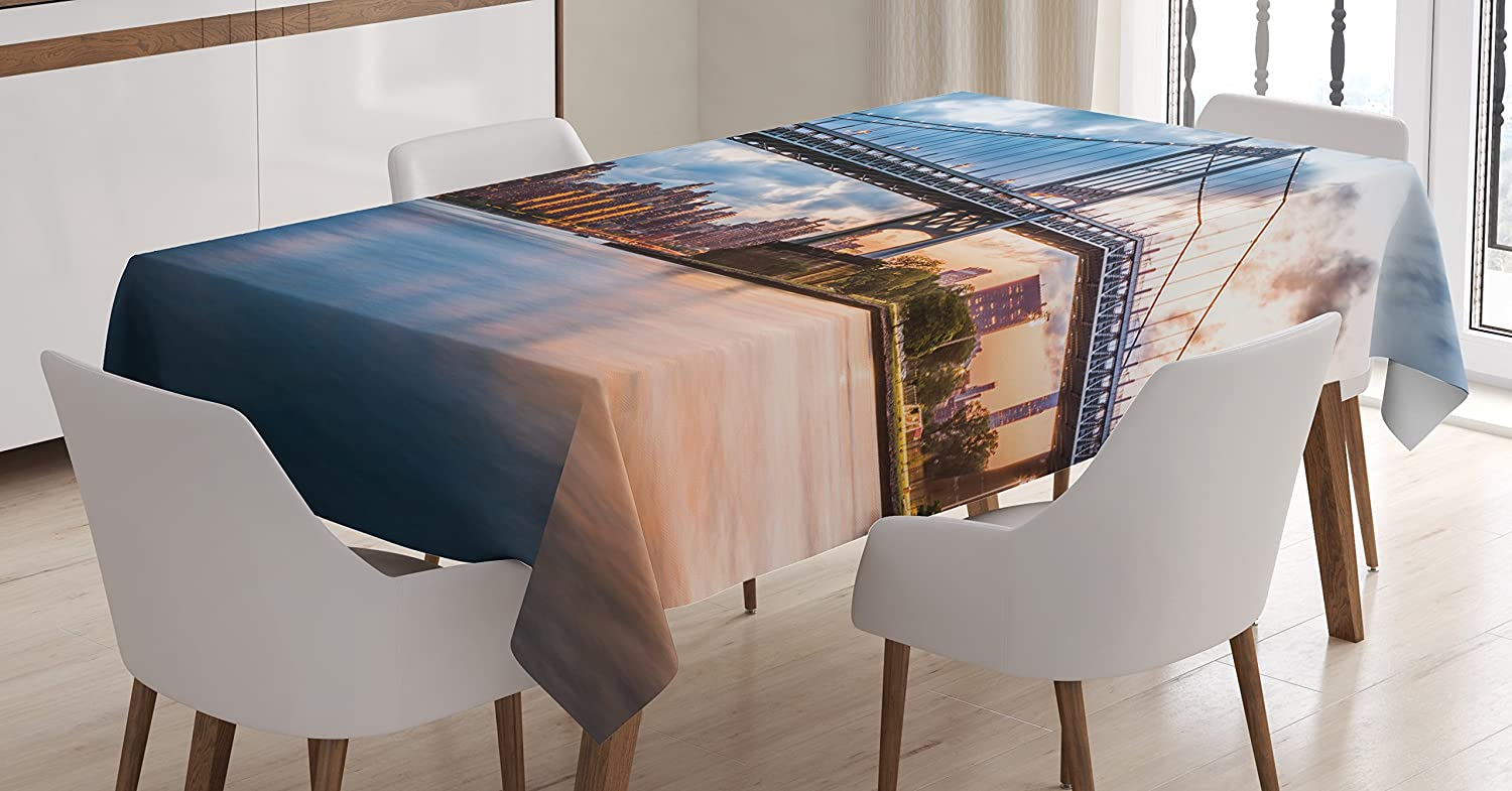 Ambesonne New York City Decor Tablecloth Kennedy Triboro Bridge Queens NYC Lights Manhattan River Dining Room Kitchen Rectangular Table Cover