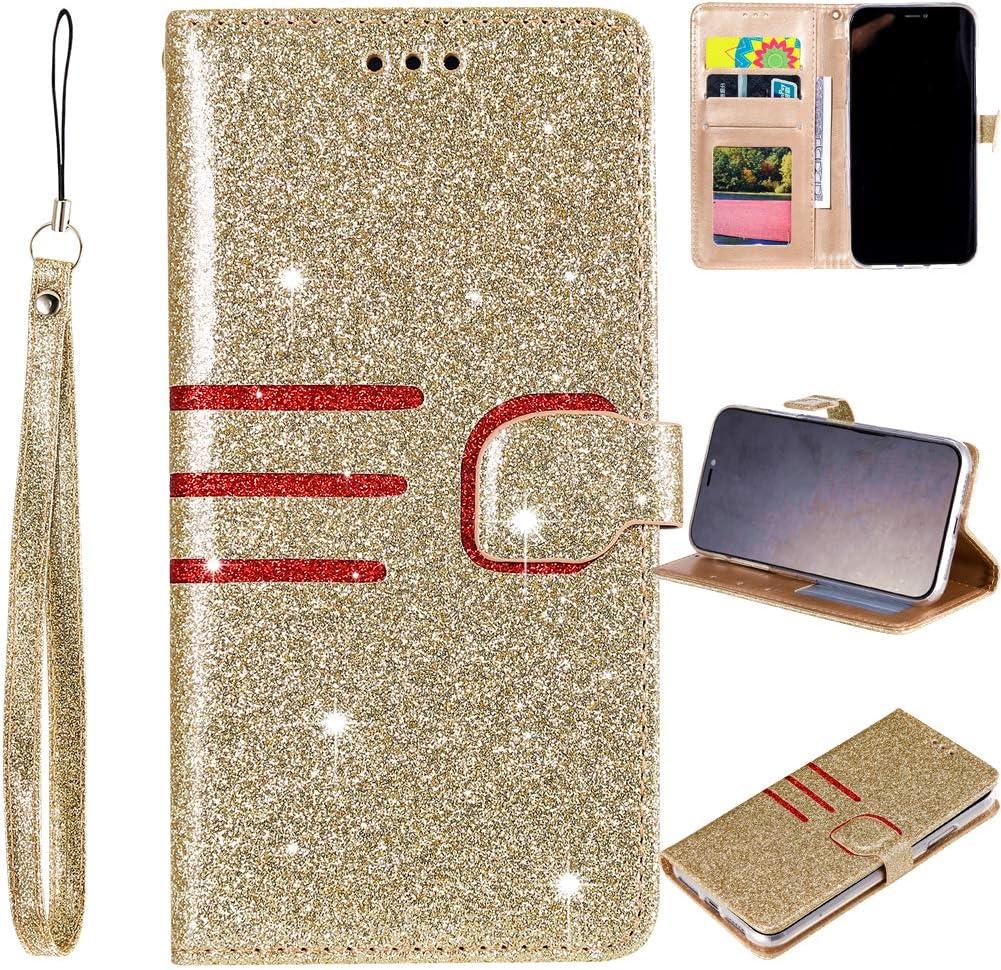 Glitzer Leder H/ülle f/ür Samsung A51,Bling Glitter Diamond Musterg Slim Retro Flip Wallet Stand Funktion Bookstyle Karteneinschub Magnetverschluss