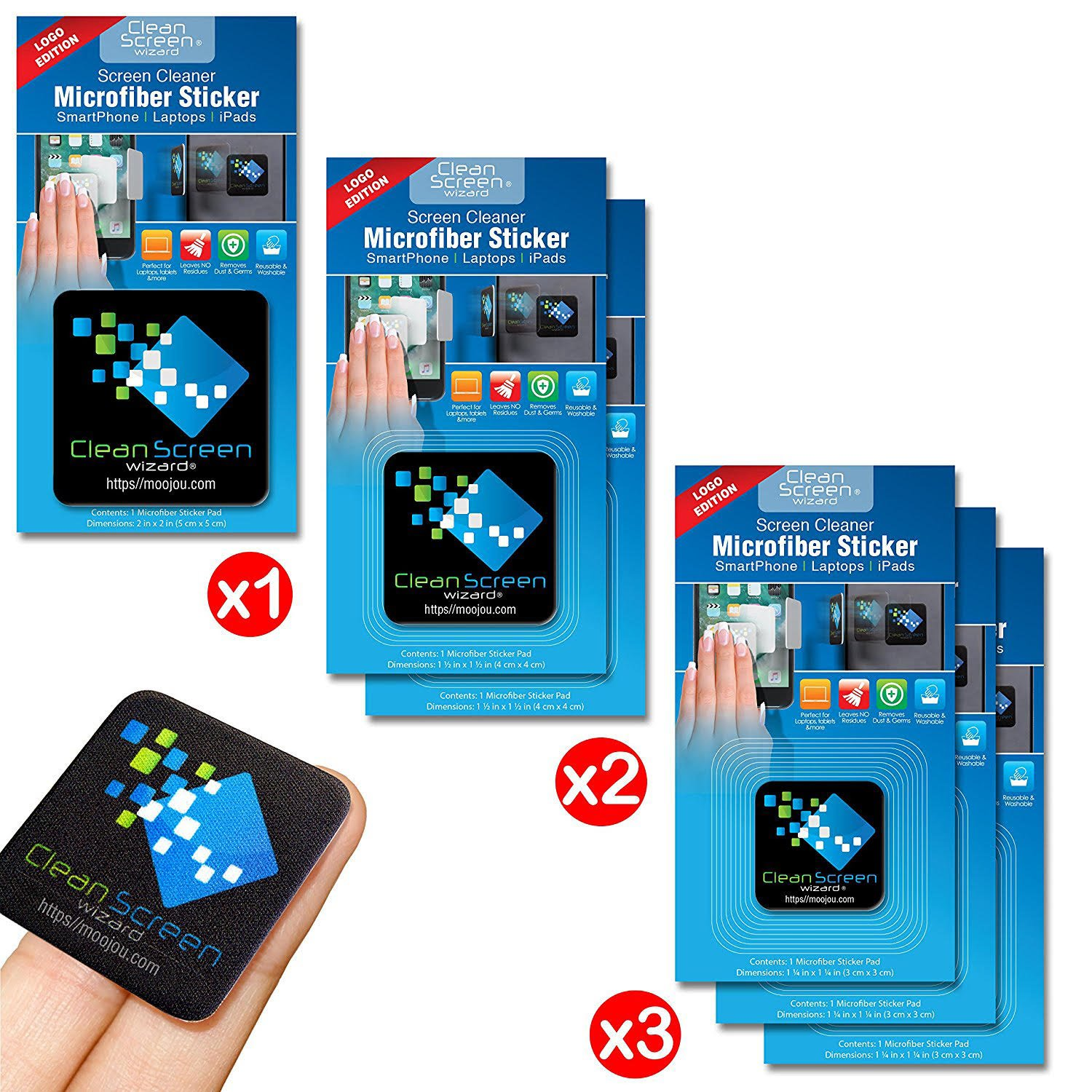 Clean Screen Wizard Microfiber Screen Cleaner Sticker/Handy Screen Cleaning Kit, 6 Pack Bundle Cleaning Stickers (1 Large, 2 Medium, 3 Small) in Black- for Multi Size Screens