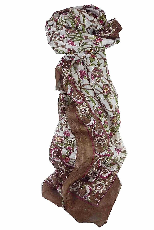 Indira Long Brown Traditional Silk Scarf by Pashmina & Silk