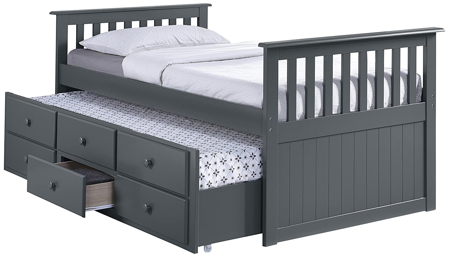 Trundle Bed.Broyhill Kids Marco Island Captain S Bed With Trundle Bed And Drawers Twin Gray Twin Sized Mattress Not Included Bunk Bed Alternative Great For