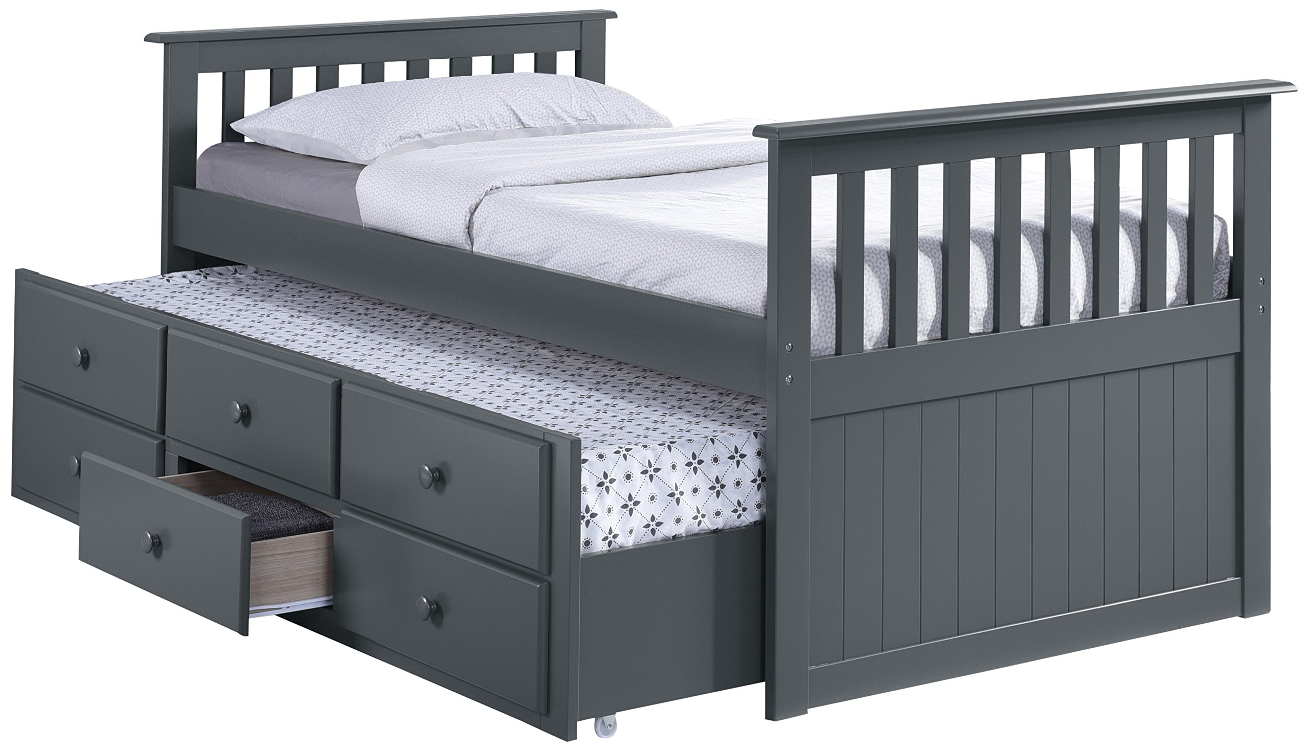 Broyhill Kids Marco Island Captain's Bed with Trundle Bed and Drawers, Twin, Gray, Twin-Sized Mattress (Not Included), Bunk Bed Alternative, Great for Sleepovers, Underbed Storage/Organization by Storkcraft
