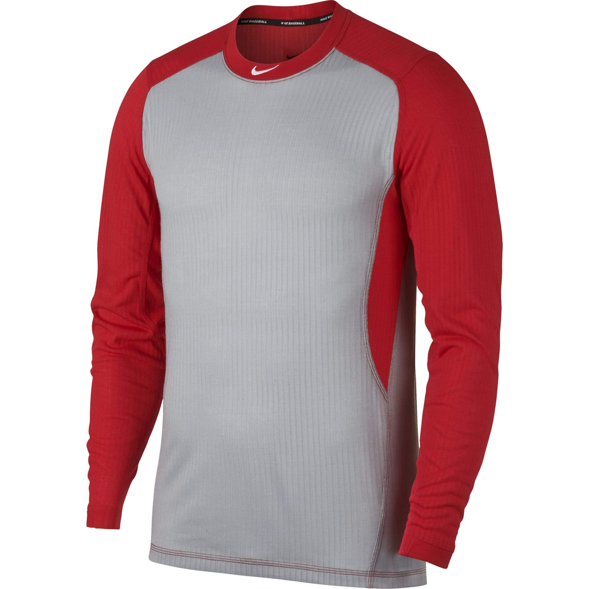Nike Men's Long Sleeve Baseball Top Wolf Grey/University Red/White Size Medium