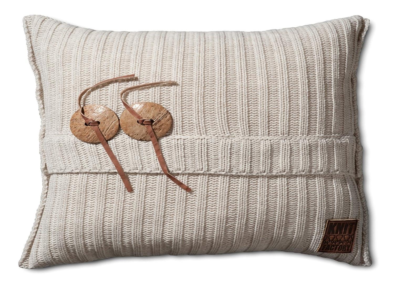 Knit Factory Dekokissen Strickkissen Aran   60 x 40 cm Beige (mit Füllung)