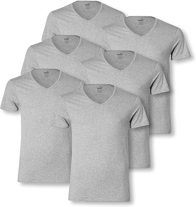 PUMA 6 en Paquete Básico Cuello V Camiseta de los Hombres Camiseta Interior Hombre Cuello Pico: Amazon.es: Ropa y accesorios