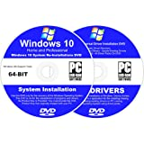 Windows 10 64-BIT Reinstall Install DVD Home and Professional - 2017 Driver DVD Included - 2 Disc Installation Kit