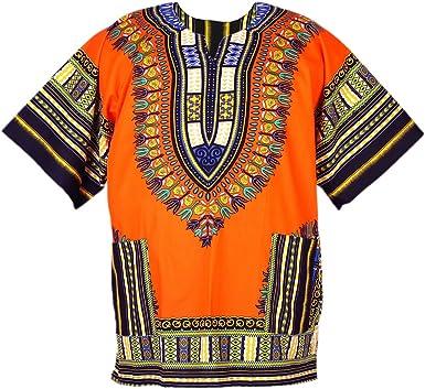sunbeachdressshop Africano Dashiki algodón Poncho Mexicano ética Tribal Boho Hippie Camisa Naranja ad08o: Amazon.es: Ropa y accesorios