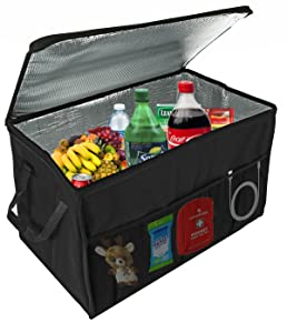 Insulated Car Console Organizer By Lebogner - X-Large Vacation Trunk Cooler Box For Hot Or Cold Food While Traveling, Collapsible Travel Or Shopping Carry Basket, Outdoor Picnic Bag For Camping