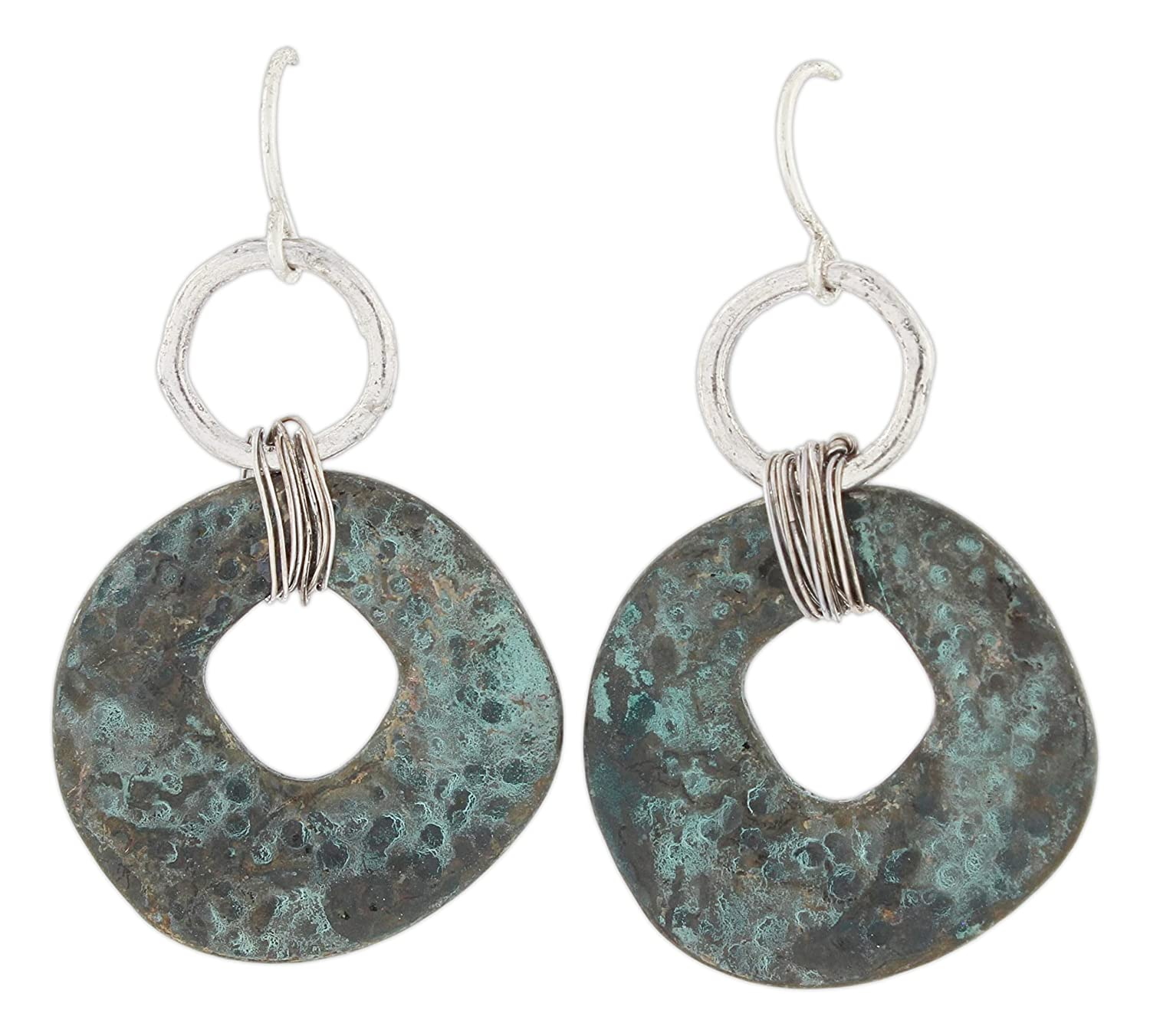 """discount Rain 1"""" Patina Style Hammered Metal Washer Dangle Earrings on sale"""