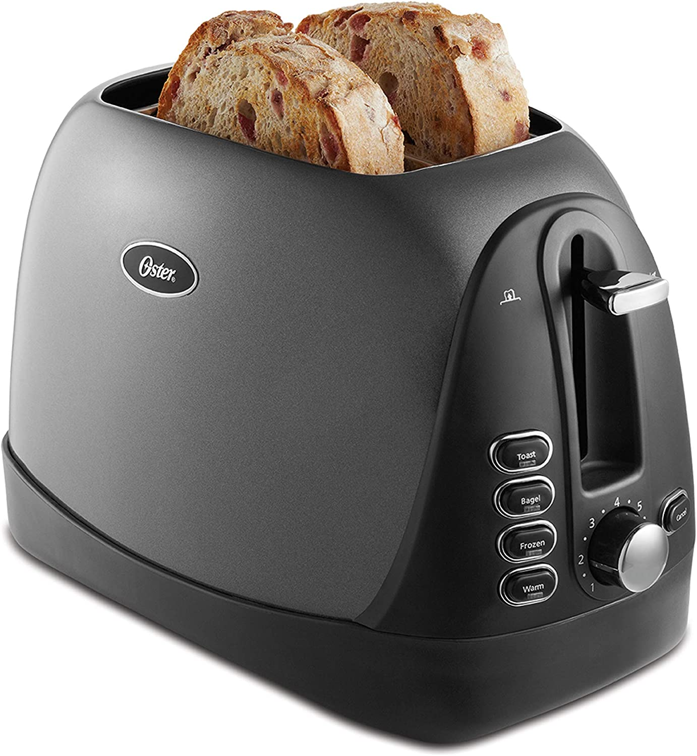 Oster 2 Slice, Bread, Bagel Toaster, Metallic Grey