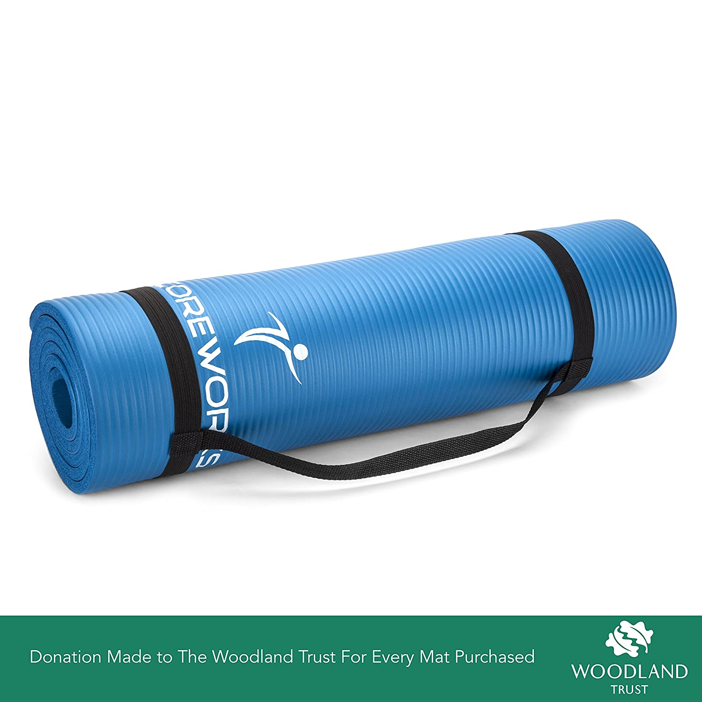 CoreWorks MLC - Alfombrilla de yoga y ejercicio de 10 mm de grosor, acolchada, multiusos, con asa de correa de transporte. Perfecto para ...