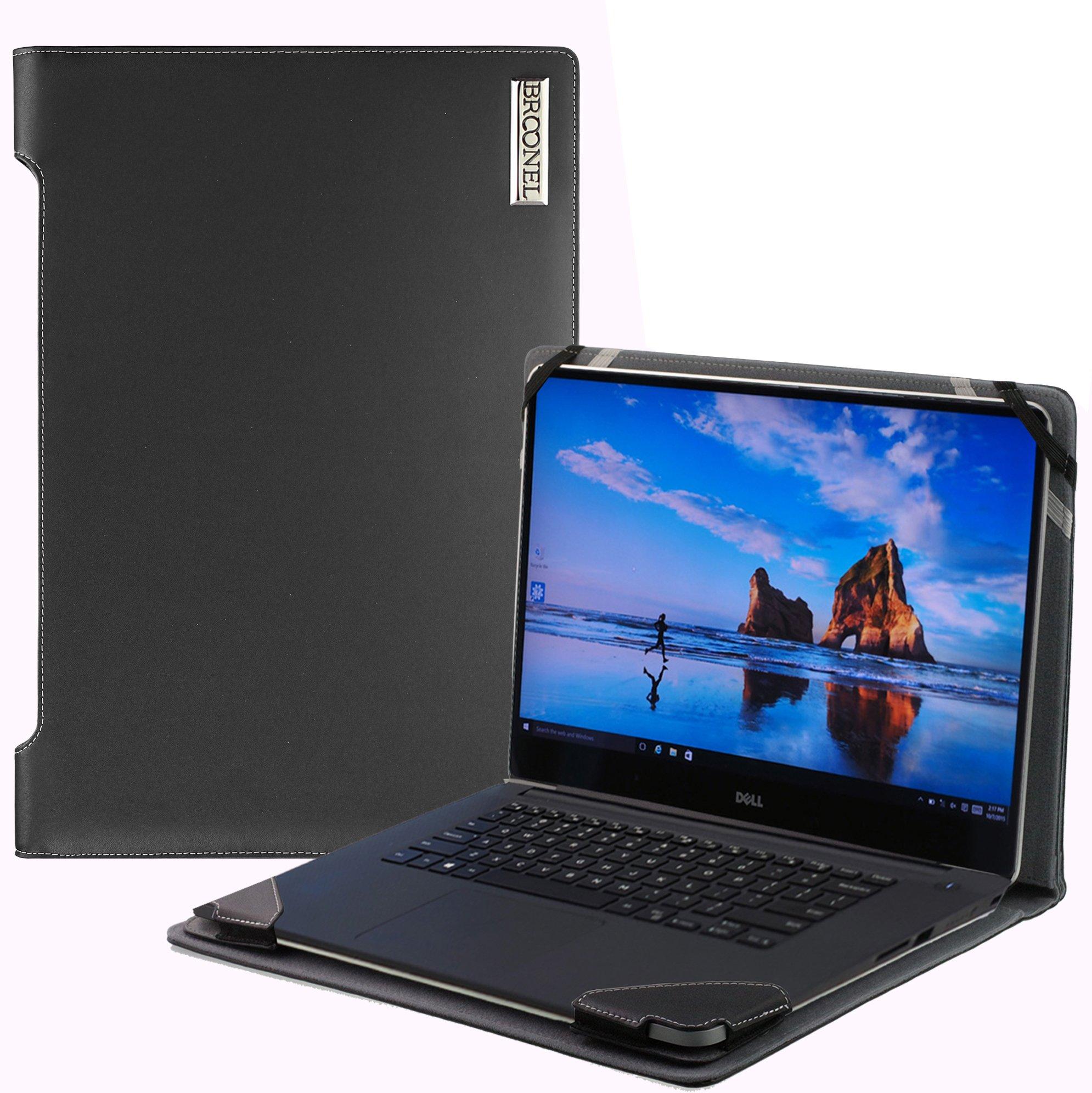 Broonel London - Profile Series - Black Vegan Leather Laptop Case Cover Sleeve For The DELLInspiron 15 5000 15.6'' Laptop - Black