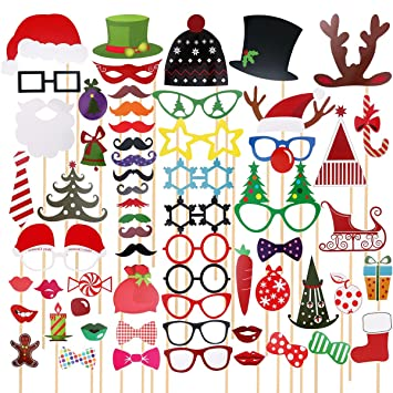 TINKSKY 62 Pcs 2018 New Years Photo Booth Props For Eve Party Favors Decoration