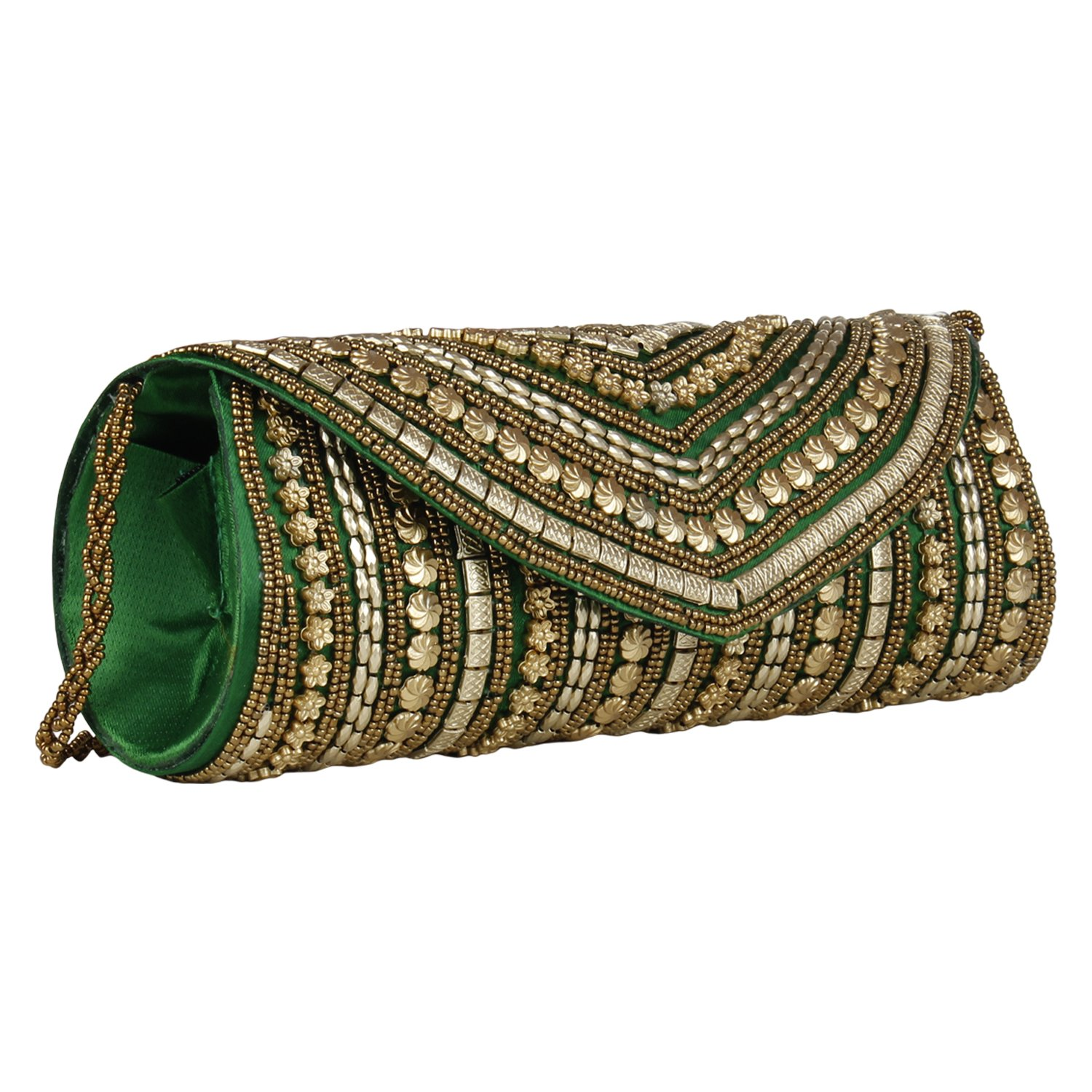 Beaded Sizzling Rajasthani Style Hand-Cum-Wedding Clutch for Women & Girls - Green Color