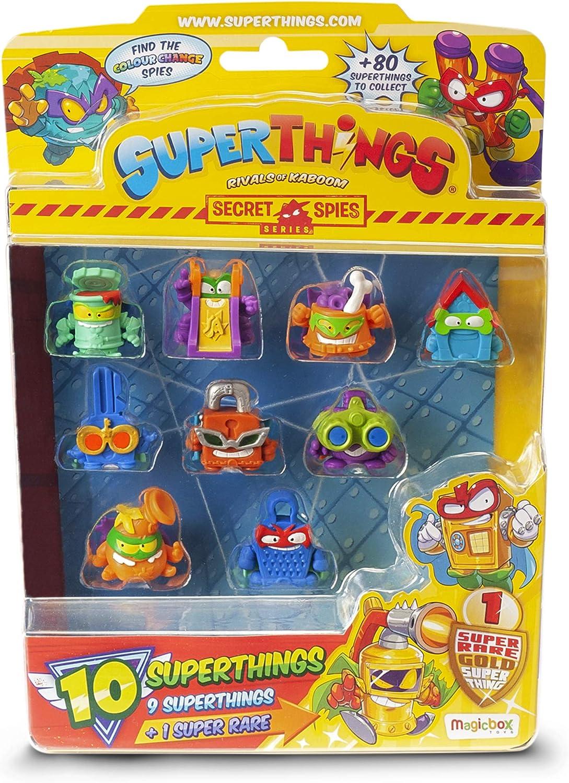 SuperThings Rivals of Kaboom - Secret Spies - Blíster con 10 Figuras (PST6B016IN00), Incluye 1 Figura Dorada Super Rare
