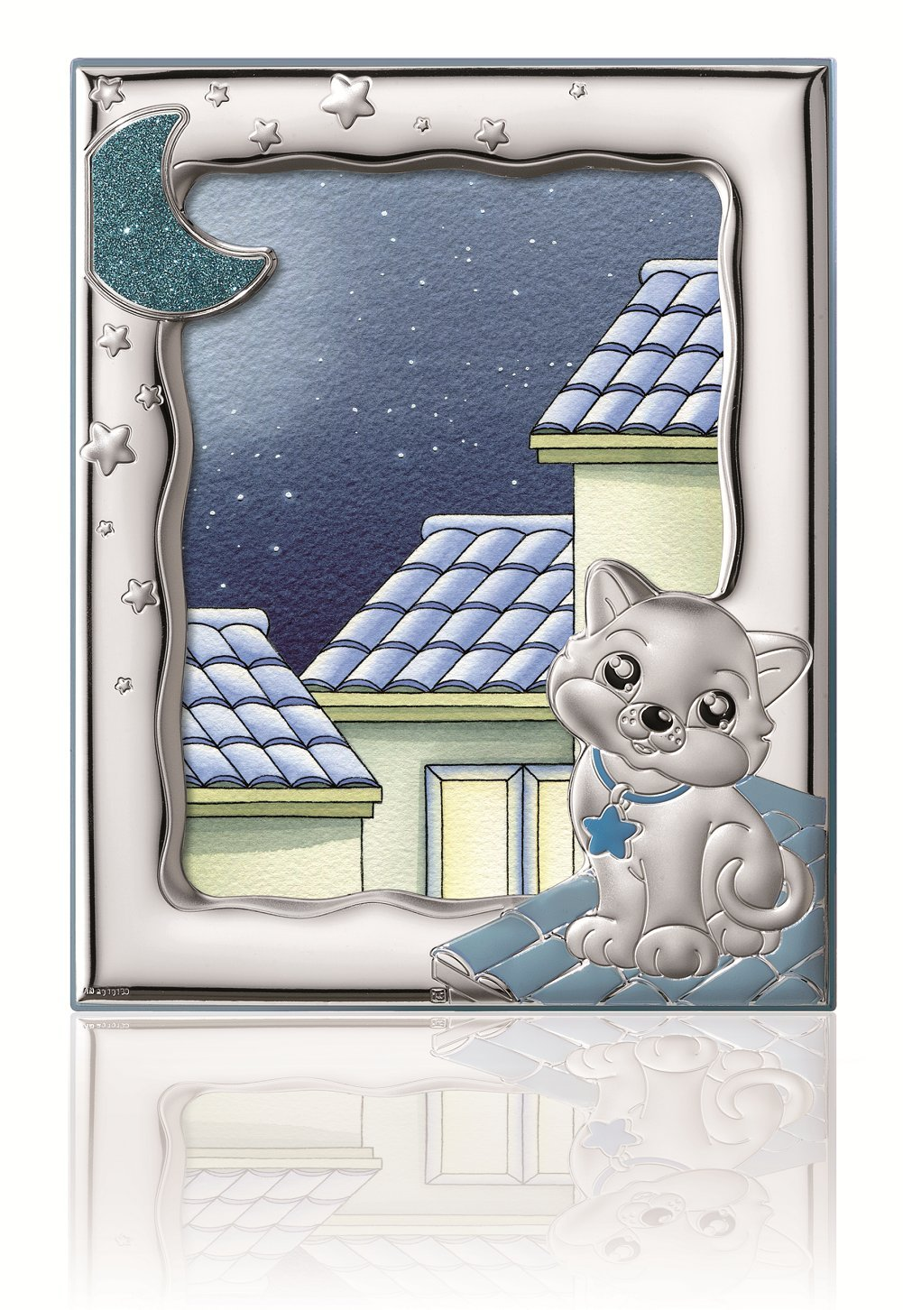STERLING SILVER Picture Frame KITTY (5'' x 7)''. Made in Italy (BLUE)