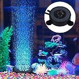 水族館 空気石 水槽気泡ストーン 丸形 バブルメイト 水槽装飾 水槽用 エアストーン 細かい気泡が出す いぶきエアーストーン 酸素補給される 6個LED水槽ライト付き