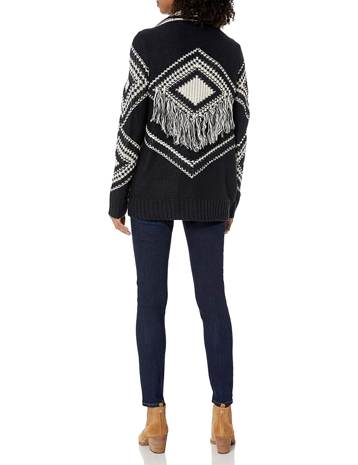 Angie Womens Open Cardigan Sweater with Fringe
