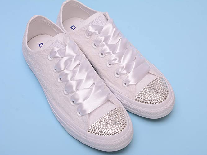 Amazon.com  White Bling Sneakers For Bride 7366b14df