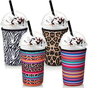 4 Pieces Coffee Cup Sleeve Reusable Beverage Holders Drink Neoprene Cup Cover Drinks Insulator Sleeves for Large 32 oz Cold Hot Beverages 4 Styles