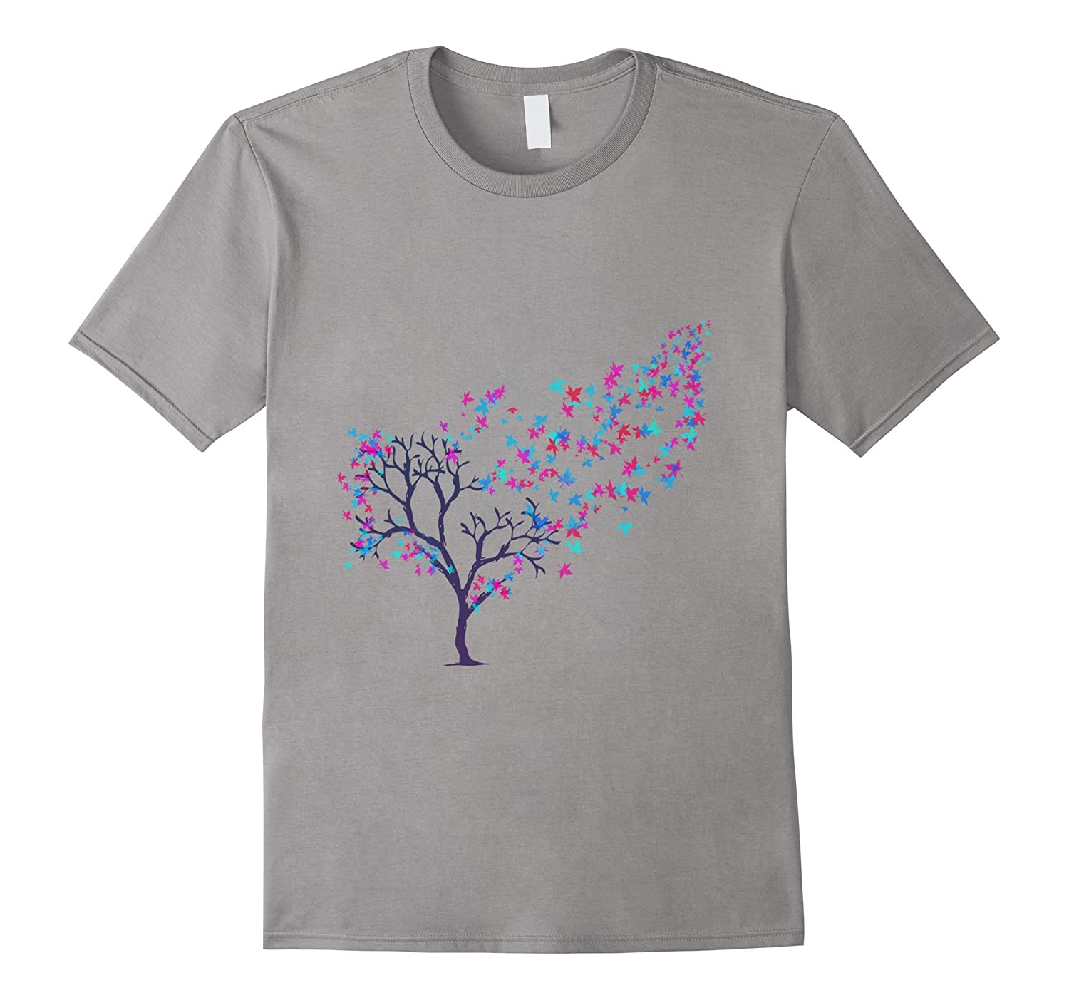 Tree of colors beautiful painting of red blue pink purple T-ANZ
