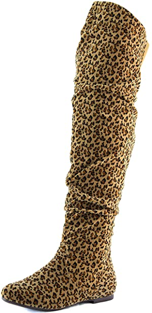 DailyShoes Women's Fashion-Hi Over-the-Knee Thigh High Flat Slouchly Shaft Low Heel Boots Leopard Suede, 12 B(M) US