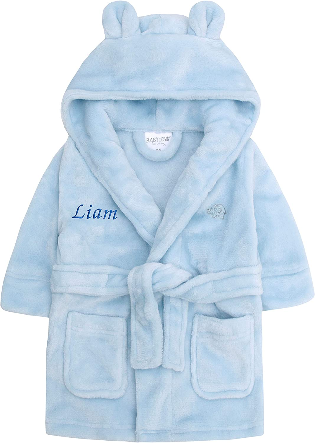 Baby Girl Boy Personalised Dressing Gown Bathrobe Hooded Bear Ear Pink Blue Grey White