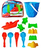 Sand Castle Building Kit (12 Pieces). Sand Castle Beach Toy Set Kids. Sand Toys Indoor & Outdoor Play - Sandbox & Beach Toy Kit. Sand Tools Set in Zippered Bag Kids & Toddlers