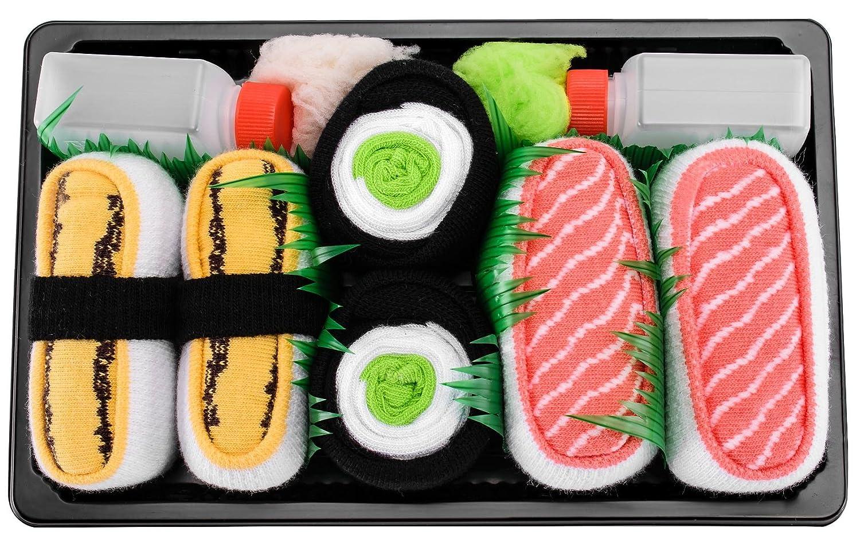 Sushi Socks Box - 3 pares de CALCETINES: Maki de Pepino, Tamago, Salmón - REGALO DIVERTIDO, Algodón de alta Calidad Tamaños 41-46, Certificado de OEKO-TEX, ...