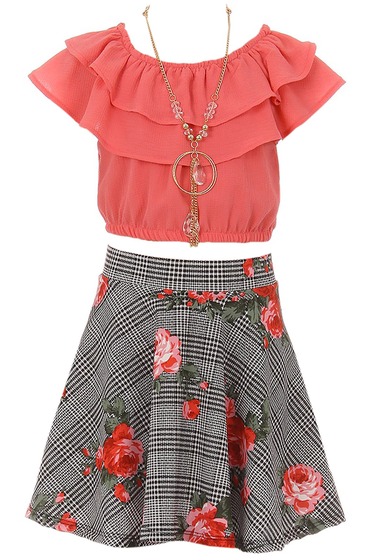 Big Girl 3 Pieces Girls Ruffle Top Flower Skirt Necklace Party Clothing Set Coral 10 JKS 2130S