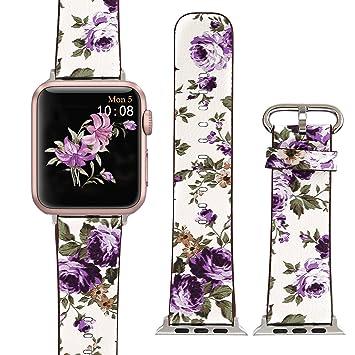 X-Cool Apple Watch Lederarmband 38mm Weiß Lila: Amazon.de: Elektronik