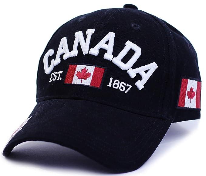 Canada 1867 Baseball Cap Adjustable Hat True North - Black  Amazon ... a12c34bb04e
