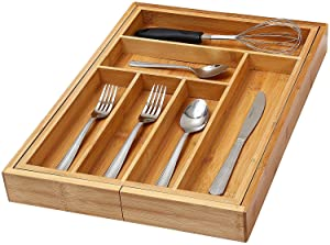 YBM Home Kitchen Utensil, Flatware, Cutlery Drawer Organizer Tray (1, 6 Compartment Fixed)