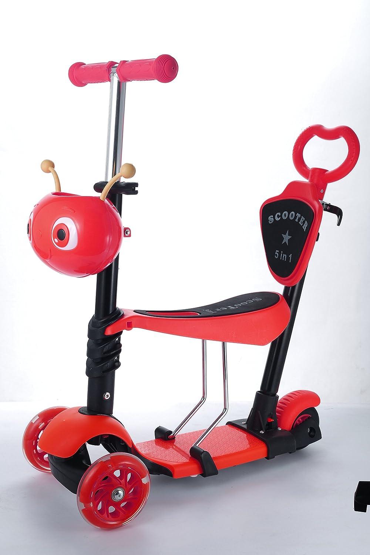 Happykidz 5 in 1 Mini Soporte Scooter con Asiento para bebés, bebés y Joven Niños con Intermitente Rueda - Azul AJ