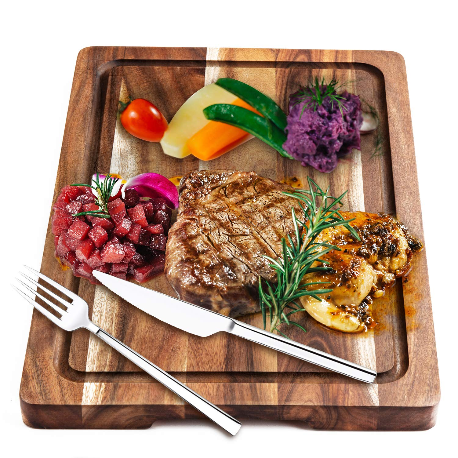 AIJAI Natural Wood Cutting Board, 15'x10'x0.7' Large Multipurpose Thick Acacia Wood Chopping Board for Kitchen Serving Tray for Vegetables, Fruit, Meat, Fish & Cheese  Reversible Butcher Block