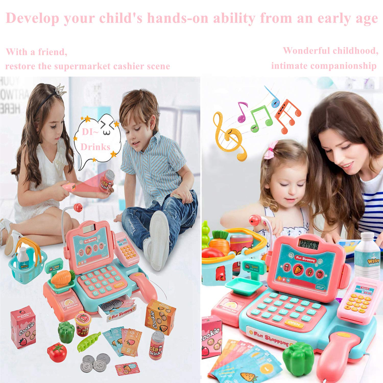 YYoomi Pretend Play Educational Cash Register Toy Classic Counting Toy with Microphone/ Calculator/ Scanner/ Sound/ Music for Kids & Toddlers & Preschoolers by YYoomi (Image #6)
