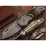 Custom made damascus blade & bolsters ram horn handle,with genuine leather sheath 5060-RD