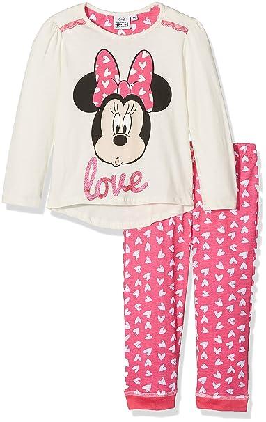 Disney Minnie Mouse Love Paris, Conjuntos de Pijama para Niñas, Blanco (Offwhite 11