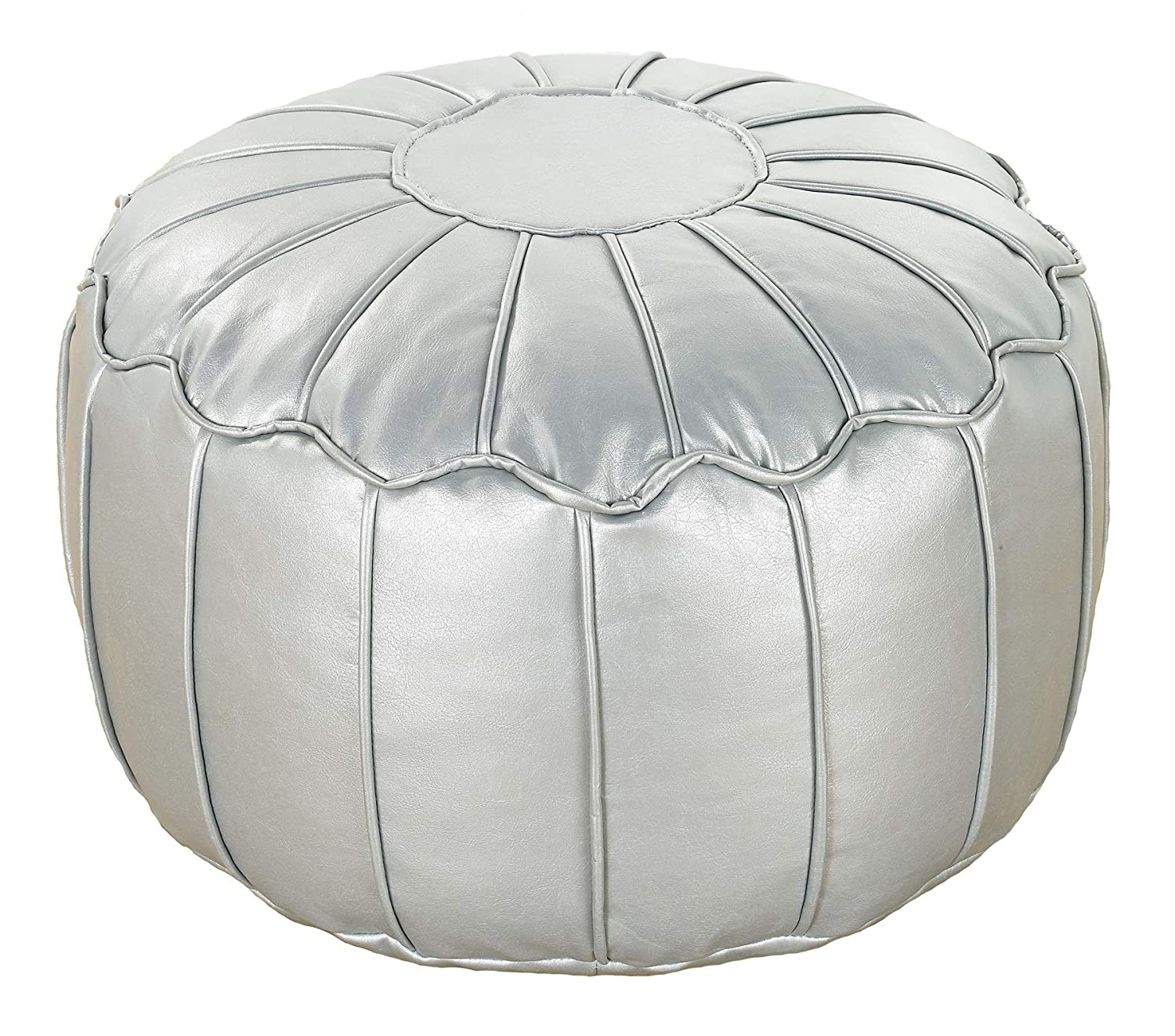 Better Dreams Silver Faux Leather Moroccan Bean Bag Footstool Pouffe With Piped Edges