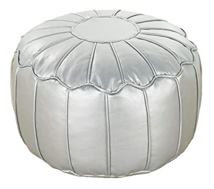 Amazing Better Dreams Silver Faux Leather Moroccan Bean Bag Footstool Pouffe With Piped Edges Machost Co Dining Chair Design Ideas Machostcouk
