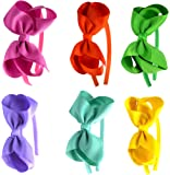 Syleia Fashion Headbands with 4 inch Bow, Set of 6 Pink, Orange, Green, Lavender, Teal and Yellow - School and Playtime Perfect Hair …