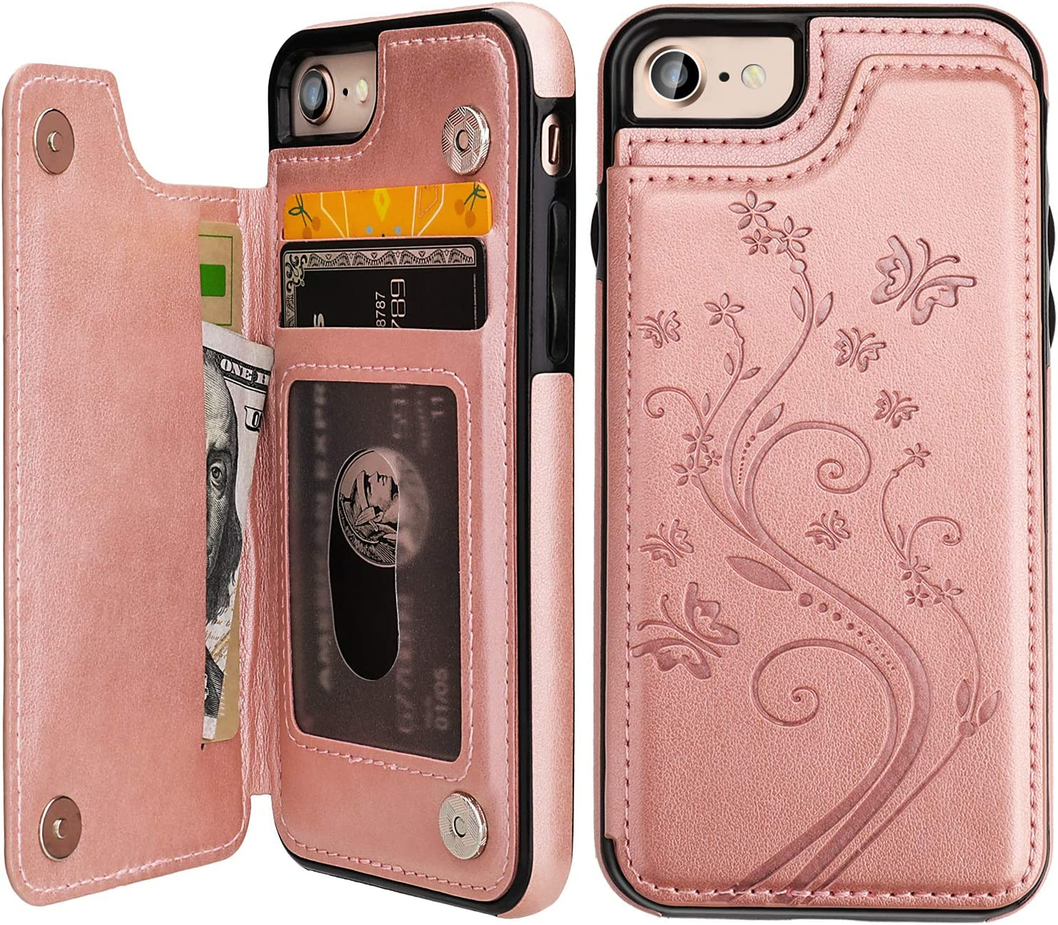 iPhone 7 iPhone 8 iPhone SE 2020 Case Wallet with Card Holder, Vaburs Embossed Butterfly Premium PU Leather Double Magnetic Buttons Flip Shockproof Protective Cover for iPhone 7/8/SE 2020 C(Rose Gold)