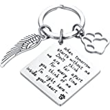 CJ&M Loss of Pet Keychain - Pet Memorial Keychain Jewelry Angel With Paws, Family dog Family cat Family pet Keychain for Pet, Dog Keychain