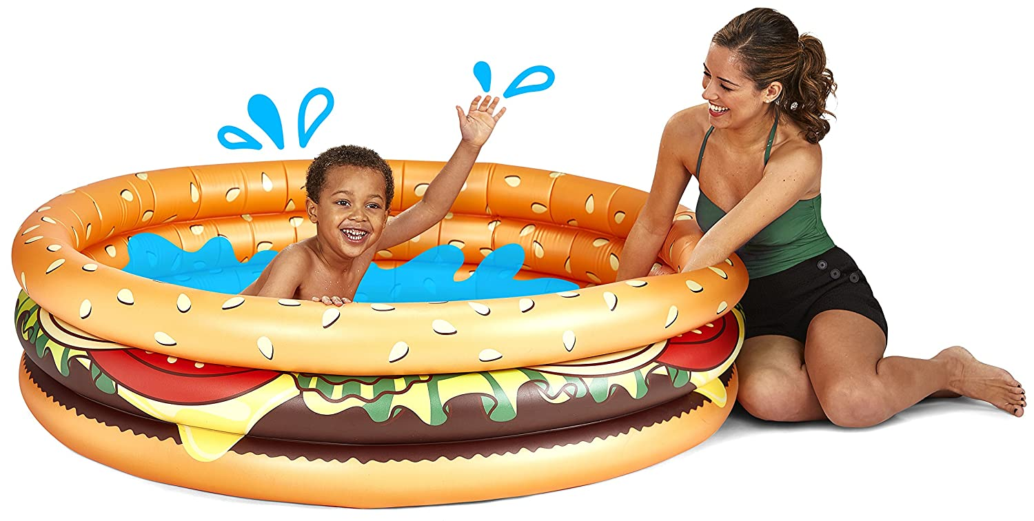 BigMouth Inc Inflatable Hamburger Kiddie Pool, Durable Plastic Baby Pool, Summer Fun Swim Pool for Kids